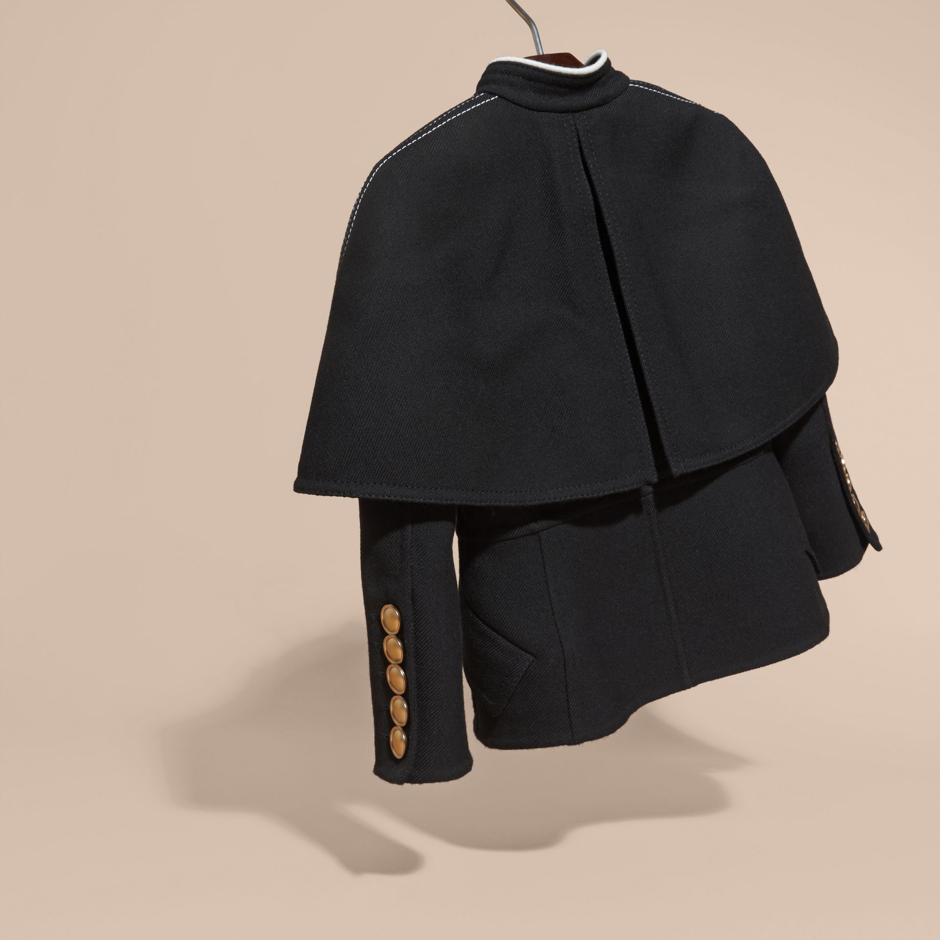 Black Wool Silk Cape Jacket - gallery image 4