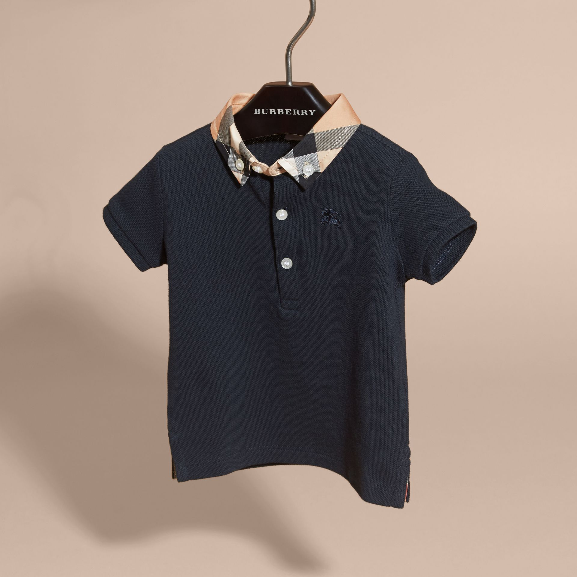 Check Collar Cotton Polo Shirt in True Navy | Burberry Canada - gallery image 3