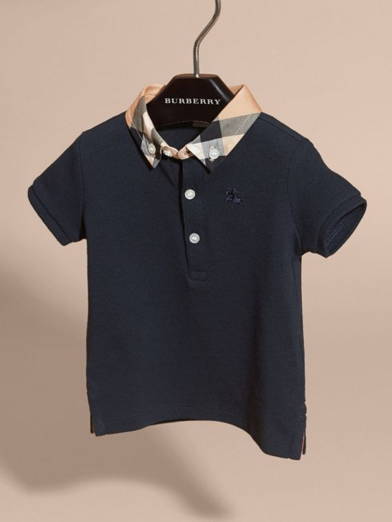 Check Collar Cotton Polo Shirt in True Navy | Burberry Canada - cell image 2