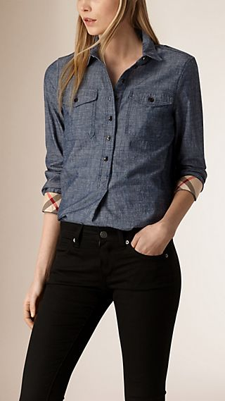 Check Detail Cotton Chambray Tunic Shirt