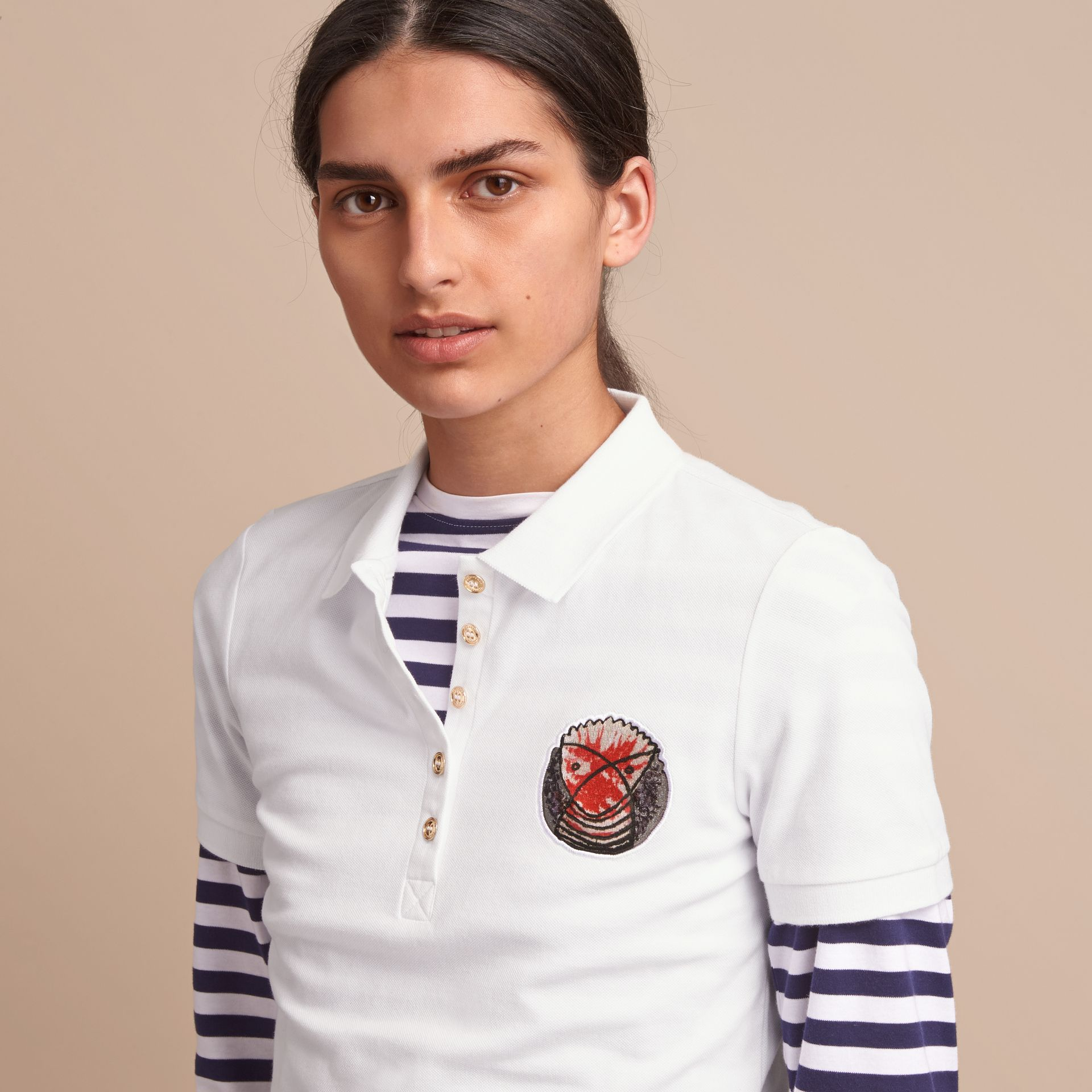 Pallas Heads Appliqué Cotton Piqué Polo Shirt White - gallery image 5