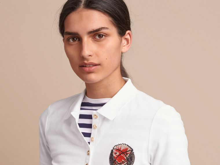Pallas Heads Appliqué Cotton Piqué Polo Shirt in White - Women | Burberry - cell image 4