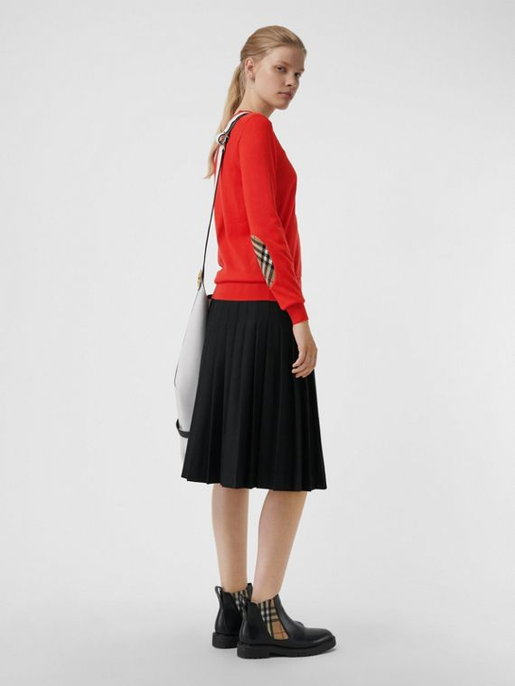 Vintage 格紋細節設計美麗諾羊毛套頭衫 (橘紅色)