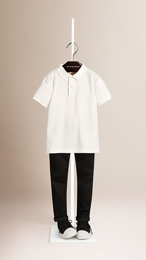White Check Placket Polo Shirt - Image 1