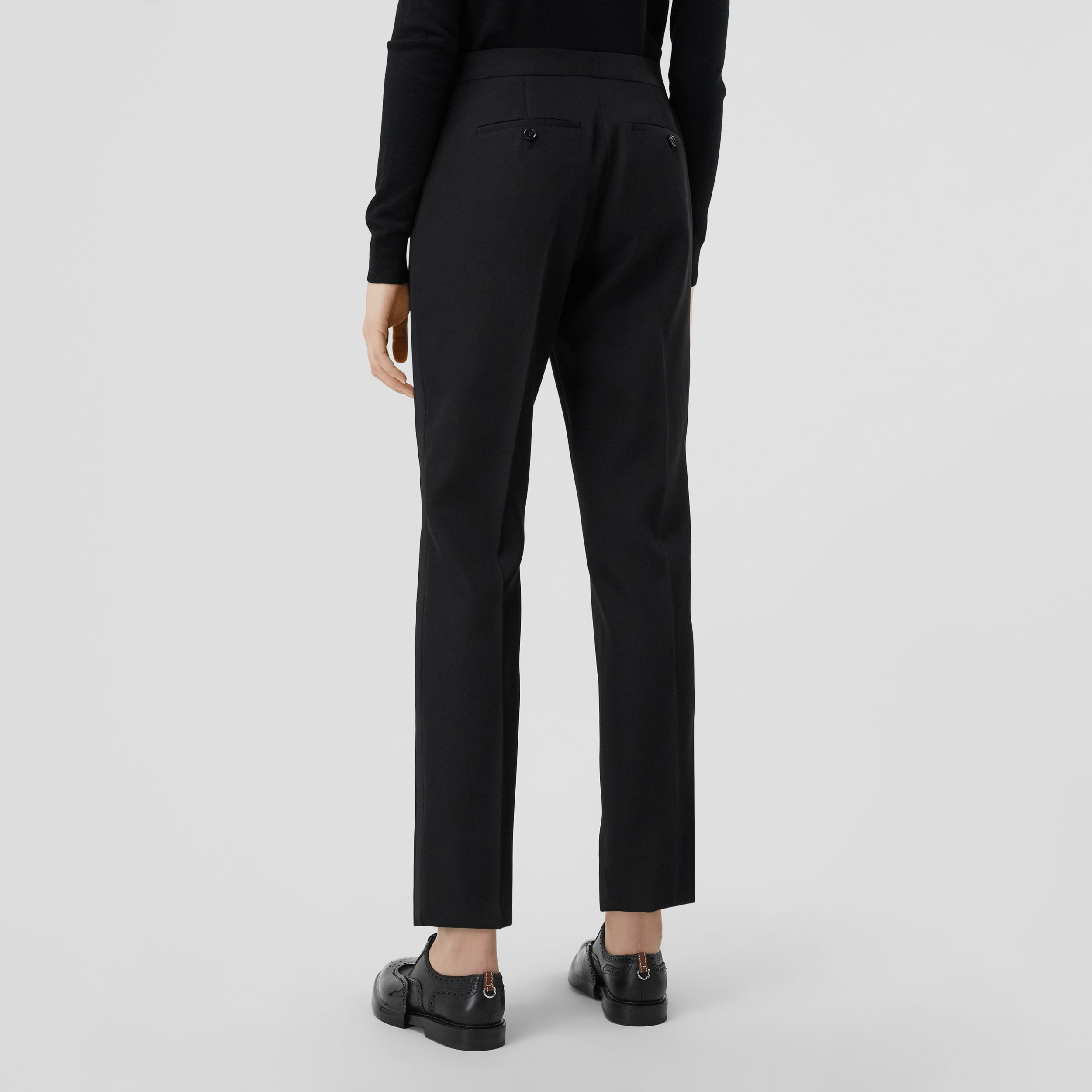 Silk Blend Side Stripe Wool Tailored Trousers in Black - Women | Burberry Australia - 3