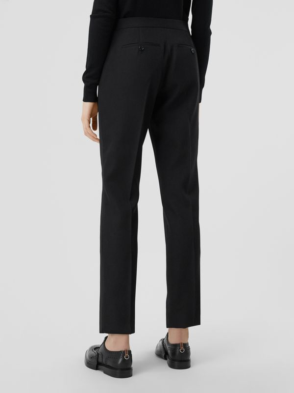 Silk Blend Side Stripe Wool Tailored Trousers in Black - Women | Burberry United Kingdom - cell image 2