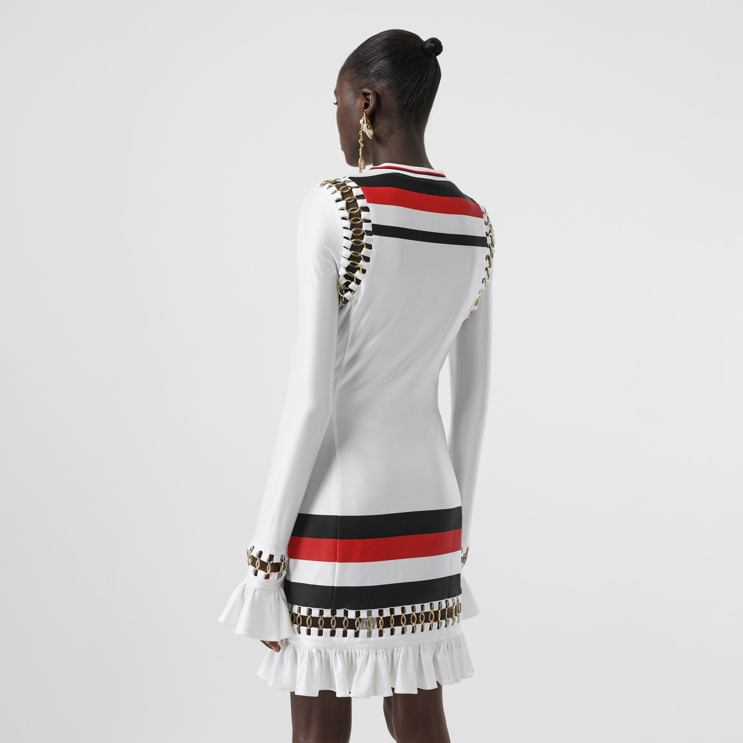 Ring-pierced Striped Stretch Jersey Mini Dress in Optic White - Women | Burberry - 3