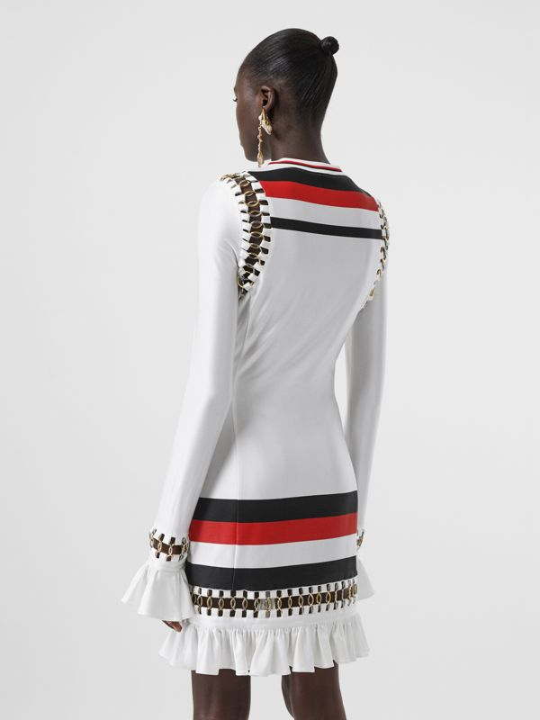Ring-pierced Striped Stretch Jersey Mini Dress in Optic White - Women | Burberry - cell image 2