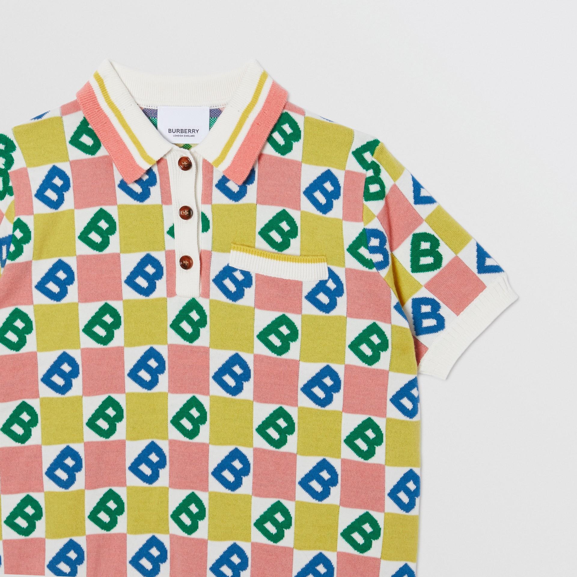 B Motif Merino Wool Cotton Cashmere Polo Shirt in Peach - Girl | Burberry United Kingdom - gallery image 4