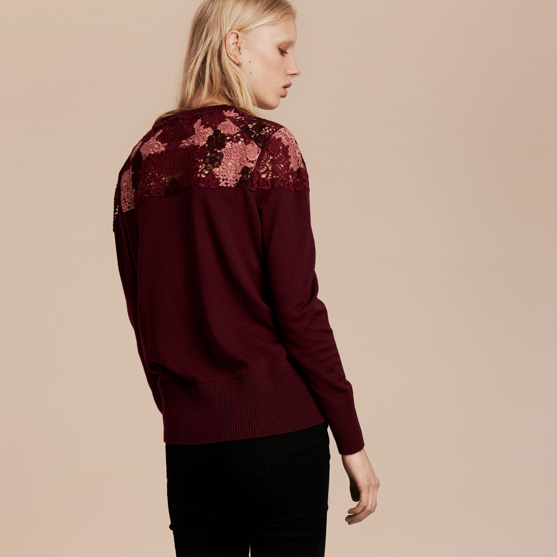 Deep claret Lace Yoke Merino Wool Sweater Deep Claret - gallery image 3