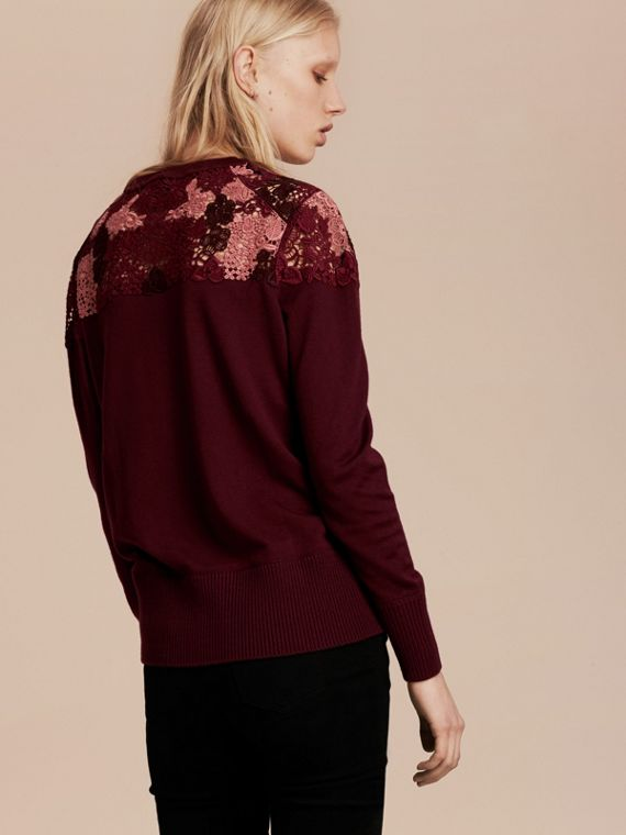 Deep claret Lace Yoke Merino Wool Sweater Deep Claret - cell image 2