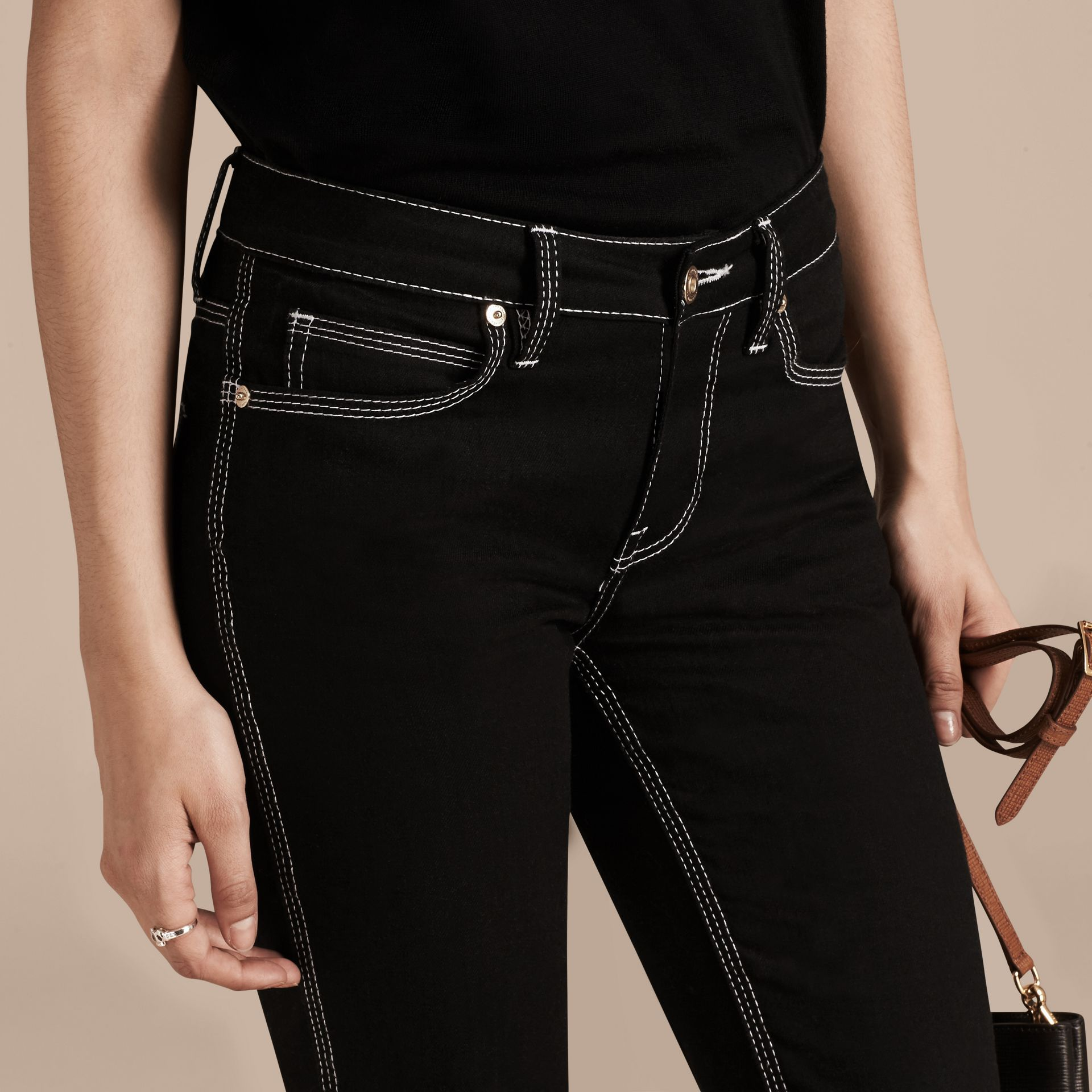 Black Flared Stretch Denim Low Rise Jeans - gallery image 5