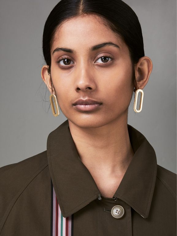 Crystal Gold-plated Link Earrings in Light Gold/crystal - Women | Burberry United Kingdom - cell image 1