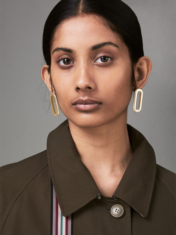 Crystal Gold-plated Link Earrings in Light Gold/crystal - Women | Burberry Canada - cell image 2