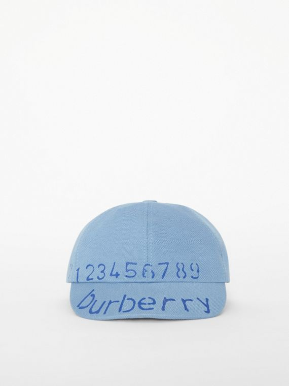 Stencil Logo Print Baseball Cap in Bright Cyan Blue