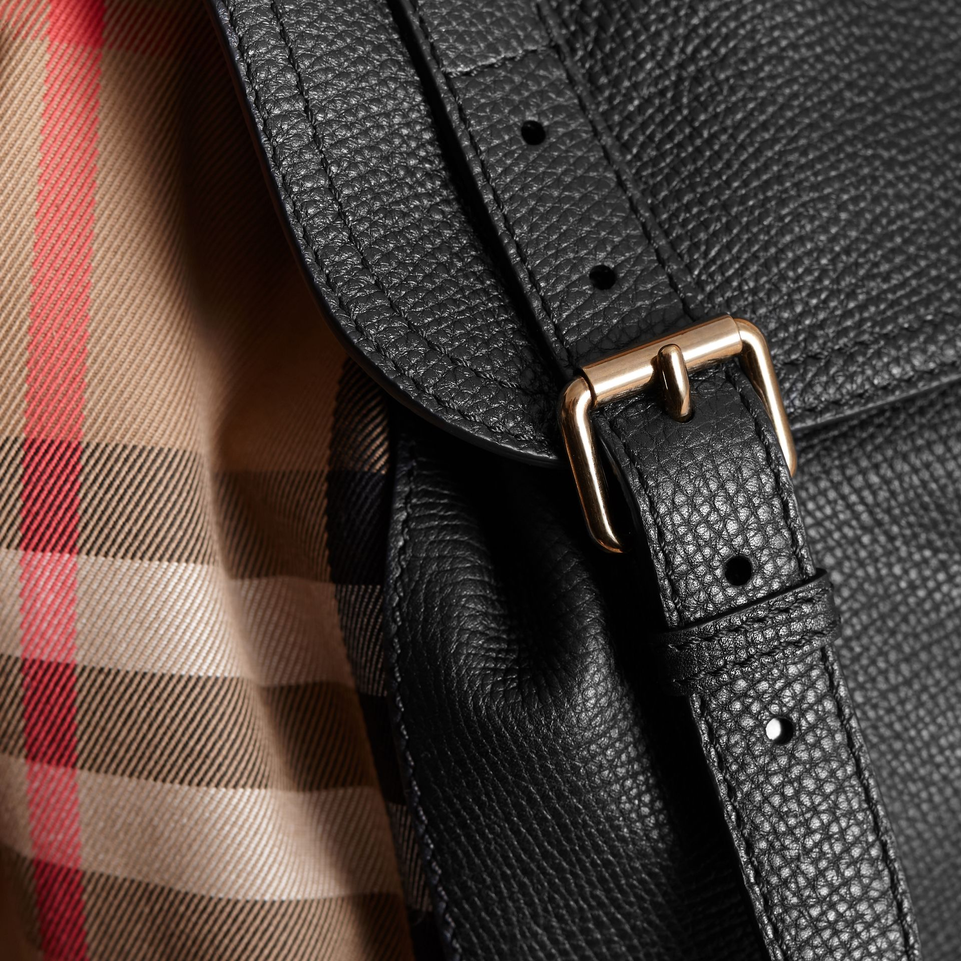 The Large Rucksack in Grainy Leather and House Check in Black | Burberry Canada - gallery image 6
