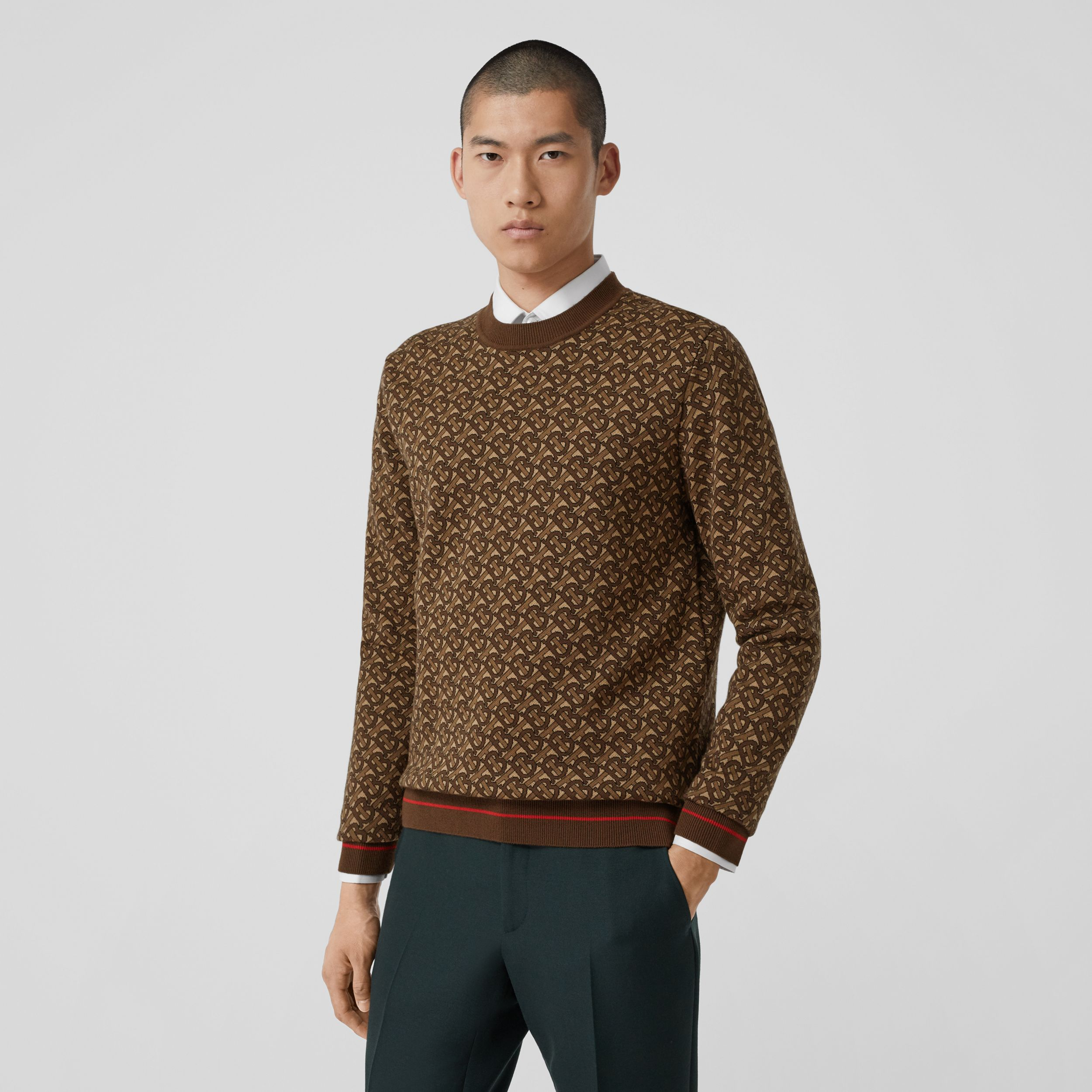 Monogram Merino Wool Jacquard Sweater in Bridle Brown - Men | Burberry - 1