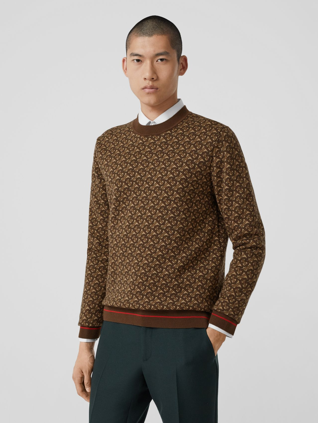 Monogram Merino Wool Jacquard Sweater in Bridle Brown