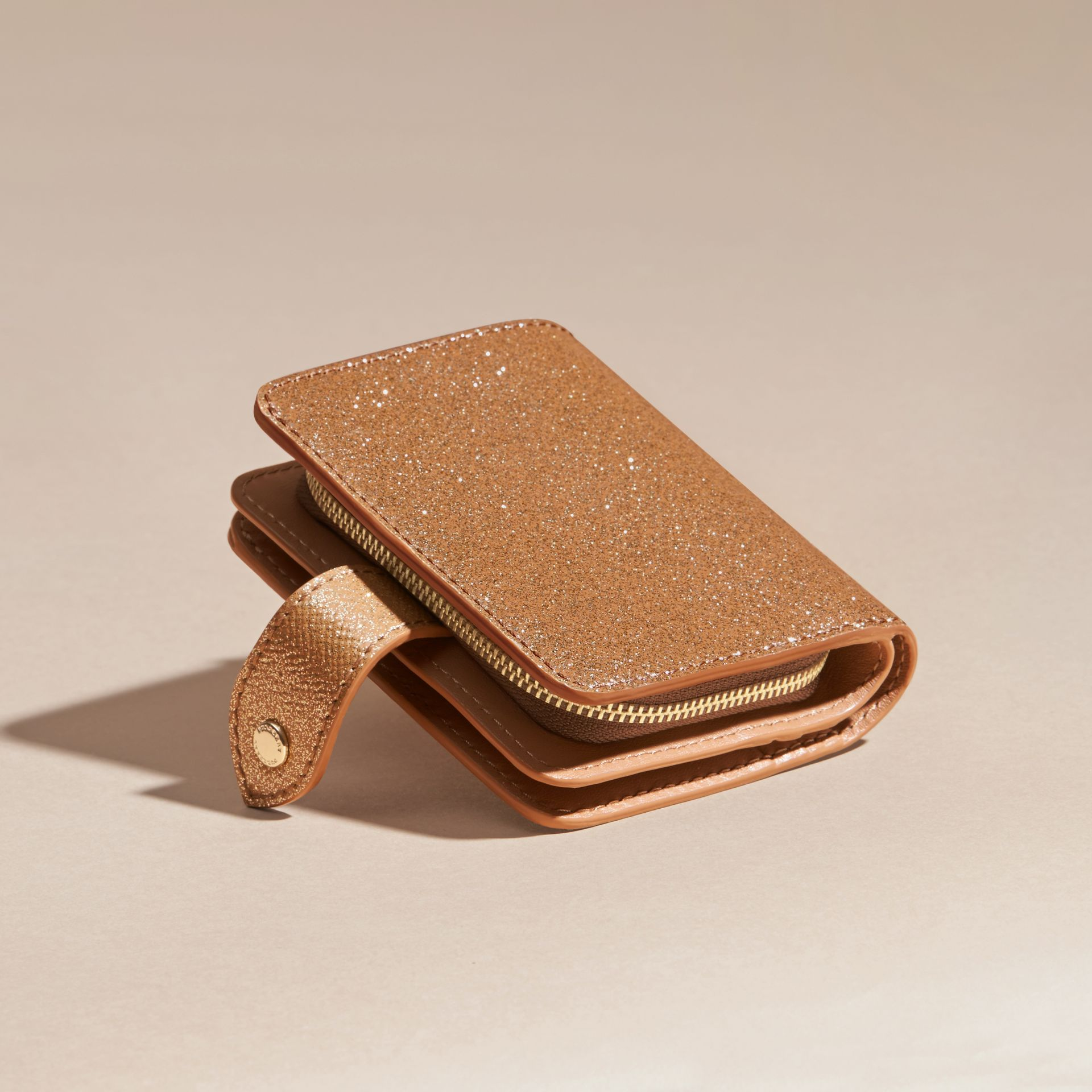 Glitter Patent London Leather Wallet in Camel / Gold - gallery image 4