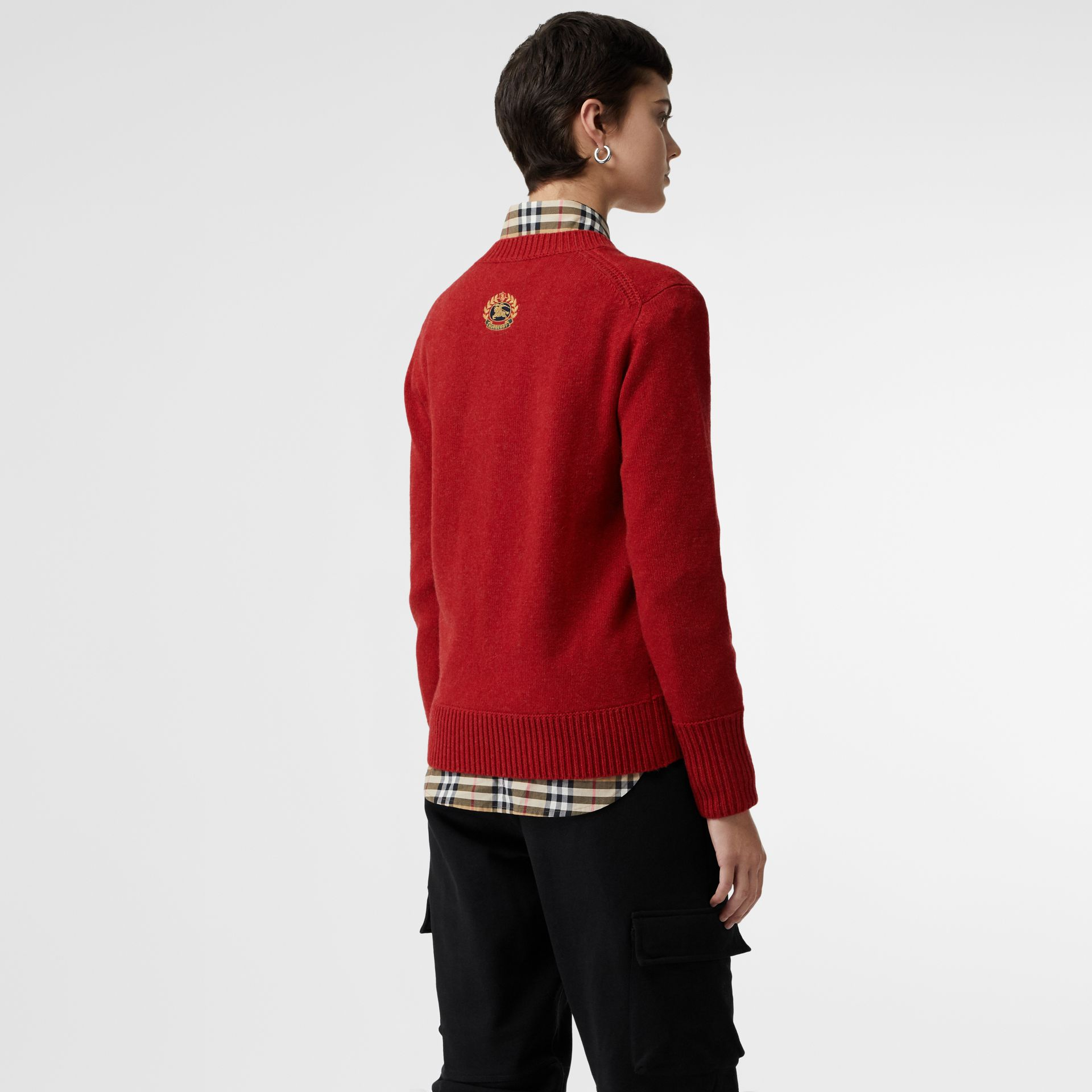 Embroidered Crest Cashmere Sweater in Coral Red - Women | Burberry - gallery image 2