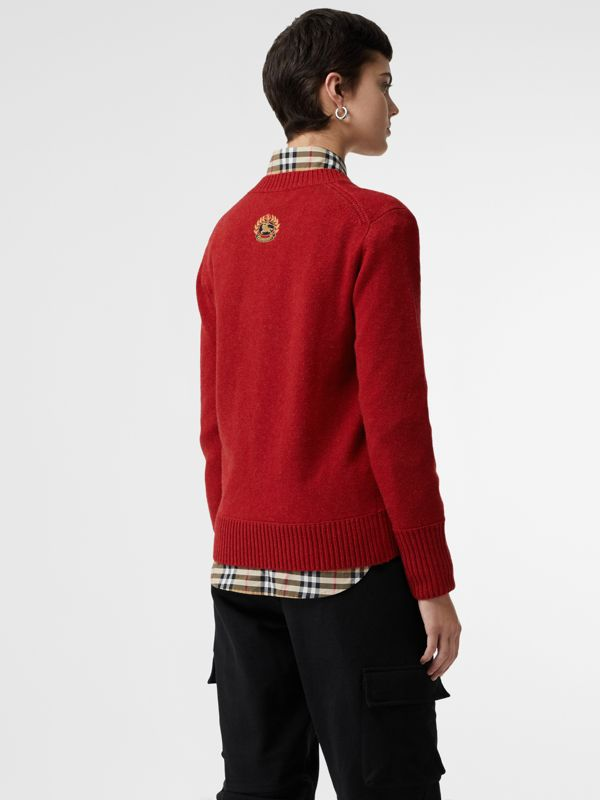 Embroidered Crest Cashmere Sweater in Coral Red - Women | Burberry United Kingdom - cell image 2