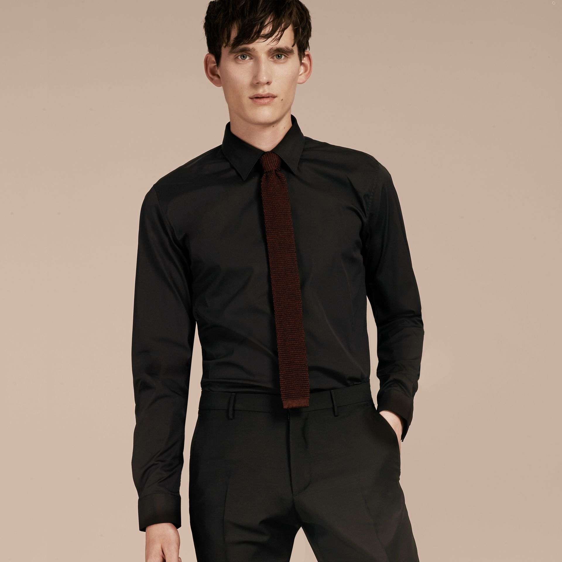 Slim Fit Stretch Cotton Shirt in Black - Men | Burberry Hong Kong - gallery image 1