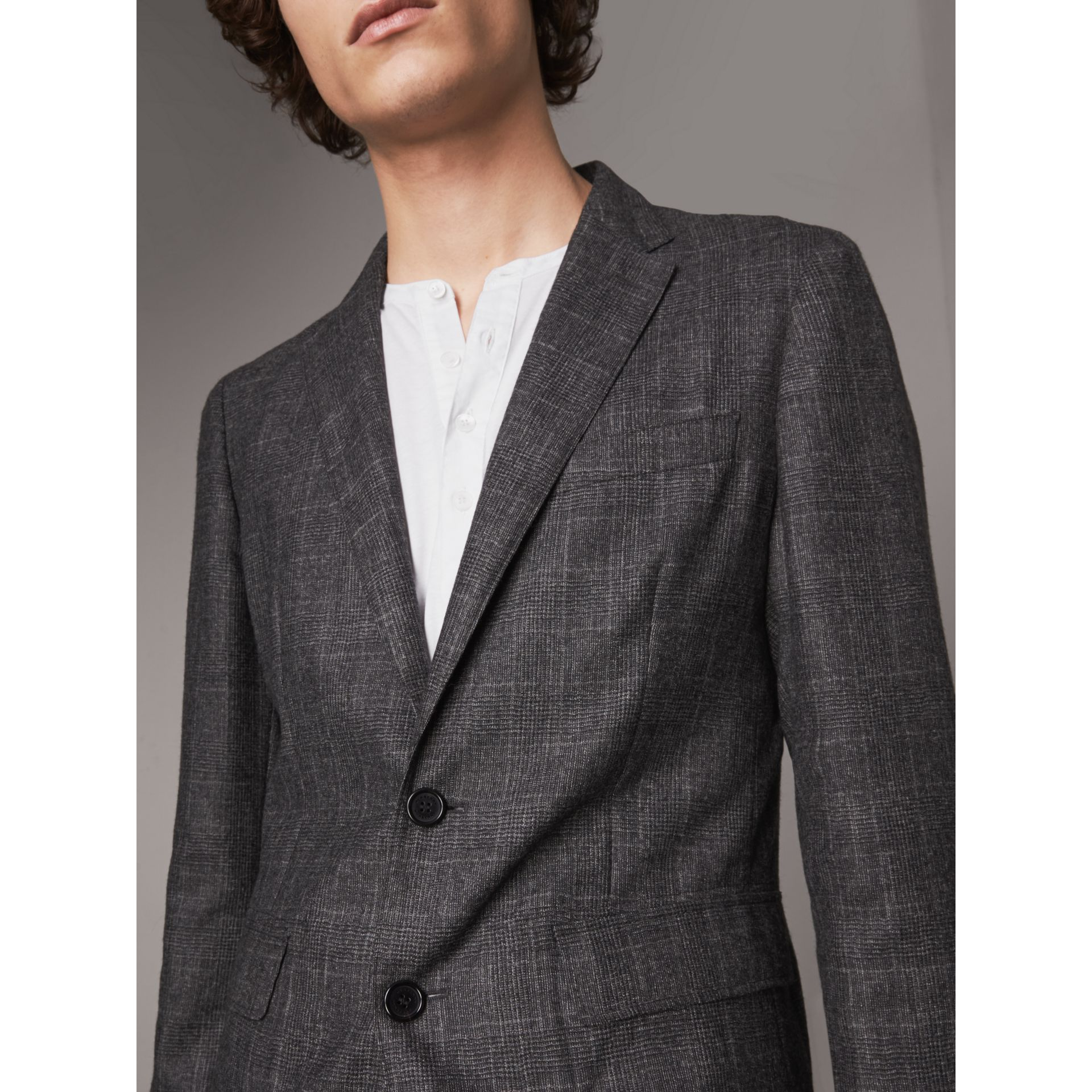 Soho Fit Check Wool Flannel Tailored Jacket in Dark Grey Melange - Men | Burberry - gallery image 2