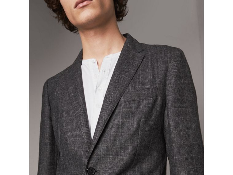 Soho Fit Check Wool Flannel Tailored Jacket in Dark Grey Melange - Men | Burberry - cell image 1