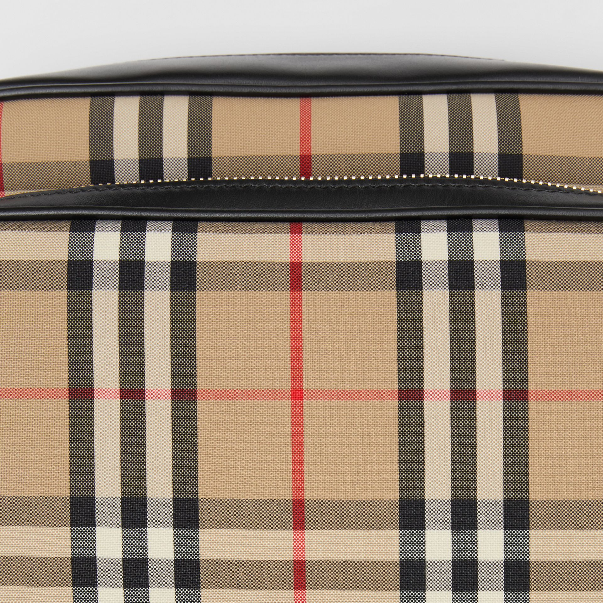 Medium Vintage Check and Leather Camera Bag in Archive Beige - Women | Burberry Canada - gallery image 1