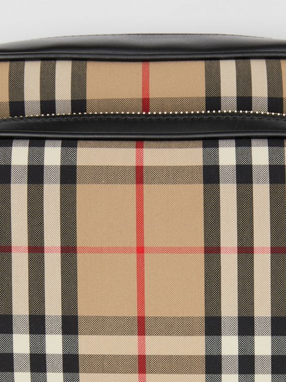Medium Vintage Check and Leather Camera Bag in Archive Beige - Women | Burberry Hong Kong S.A.R - cell image 1
