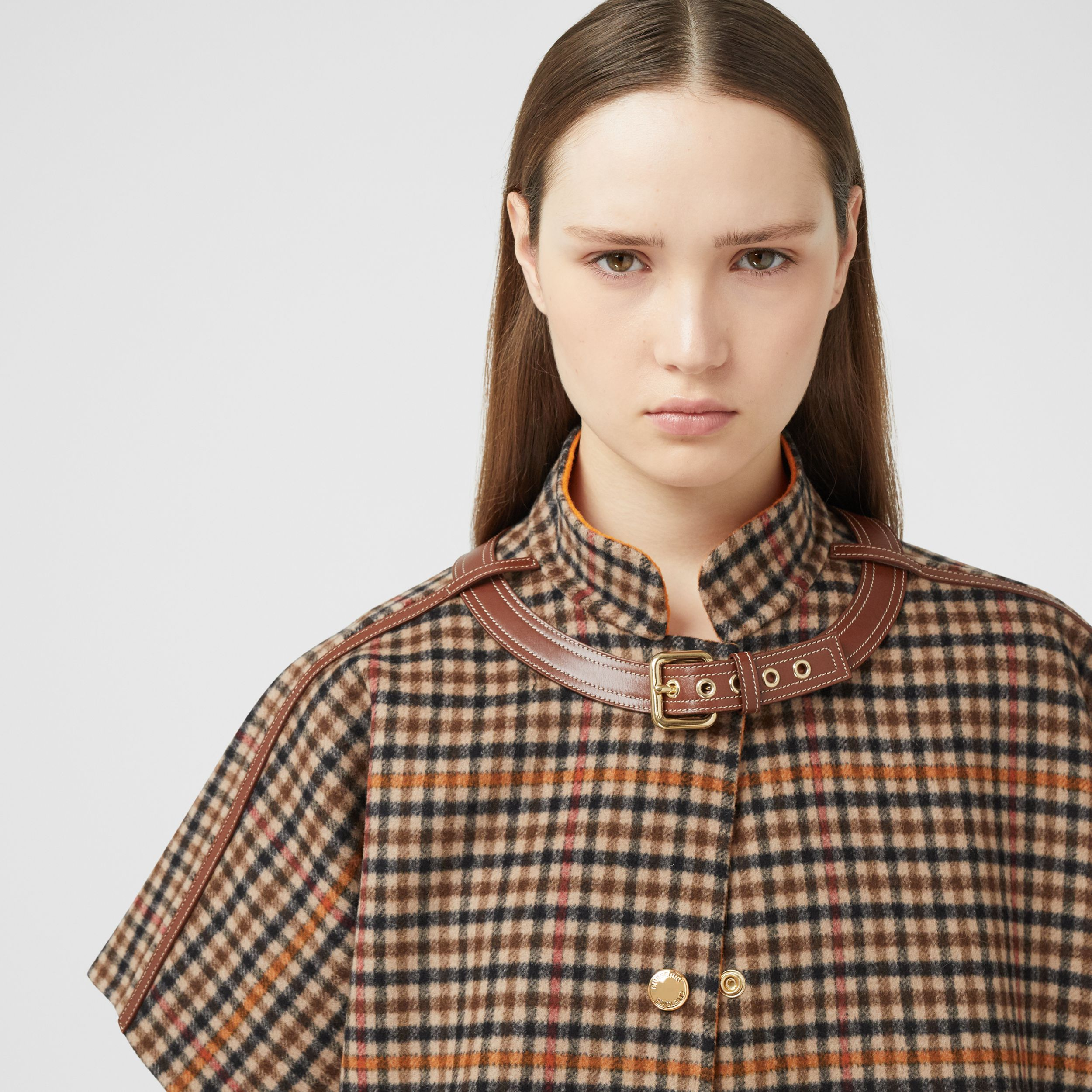 Double-faced Check Wool Cape in Bright Orange - Women | Burberry - 2
