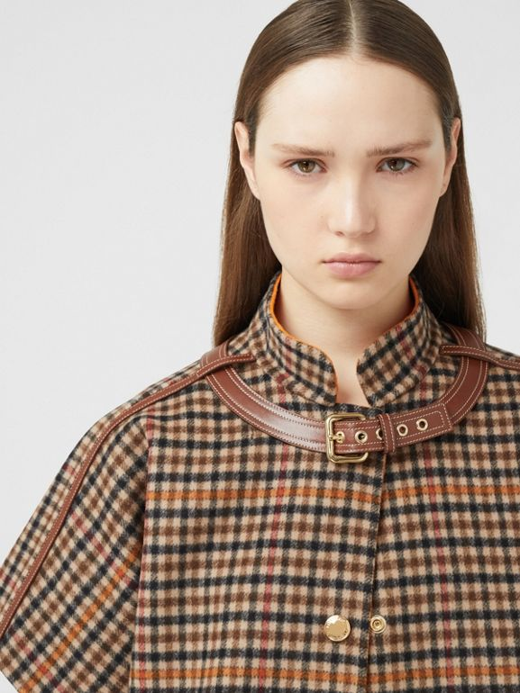 Double-faced Check Wool Cape in Bright Orange - Women | Burberry United Kingdom - cell image 1