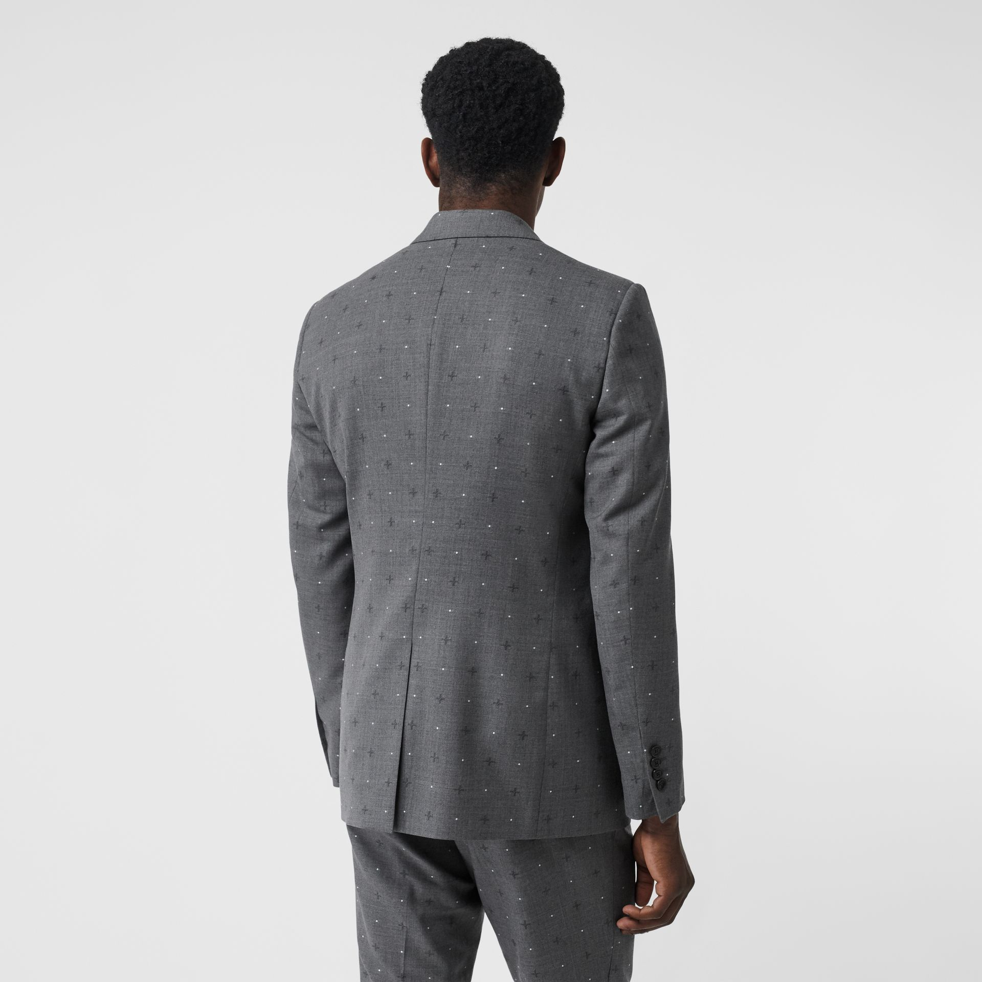 English Fit Fil Coupé Wool Cotton Tailored Jacket in Mid Grey Melange - Men | Burberry - gallery image 2
