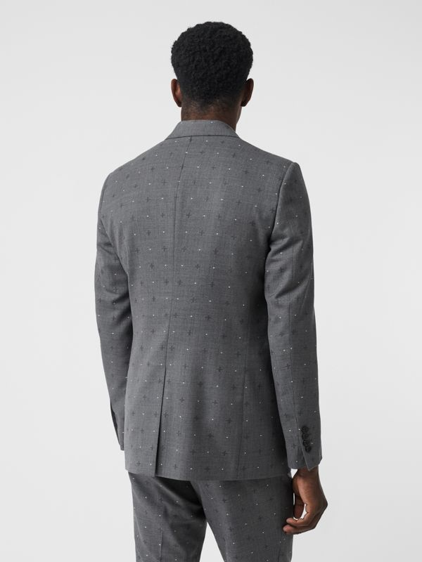 English Fit Fil Coupé Wool Cotton Tailored Jacket in Mid Grey Melange - Men | Burberry - cell image 2
