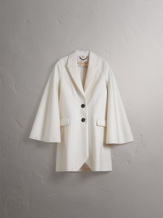 Double-faced Wool Cape Coat in White - Women | Burberry - cell image 3