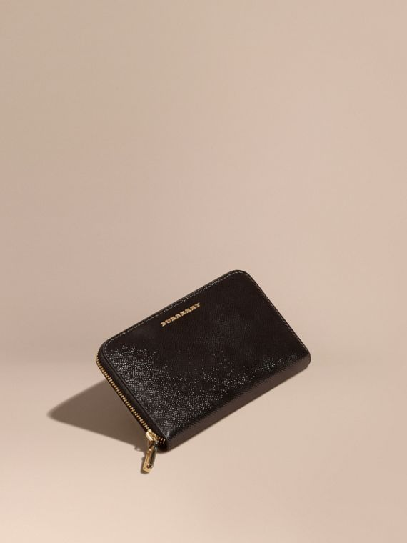 Patent London Leather Ziparound Wallet Black