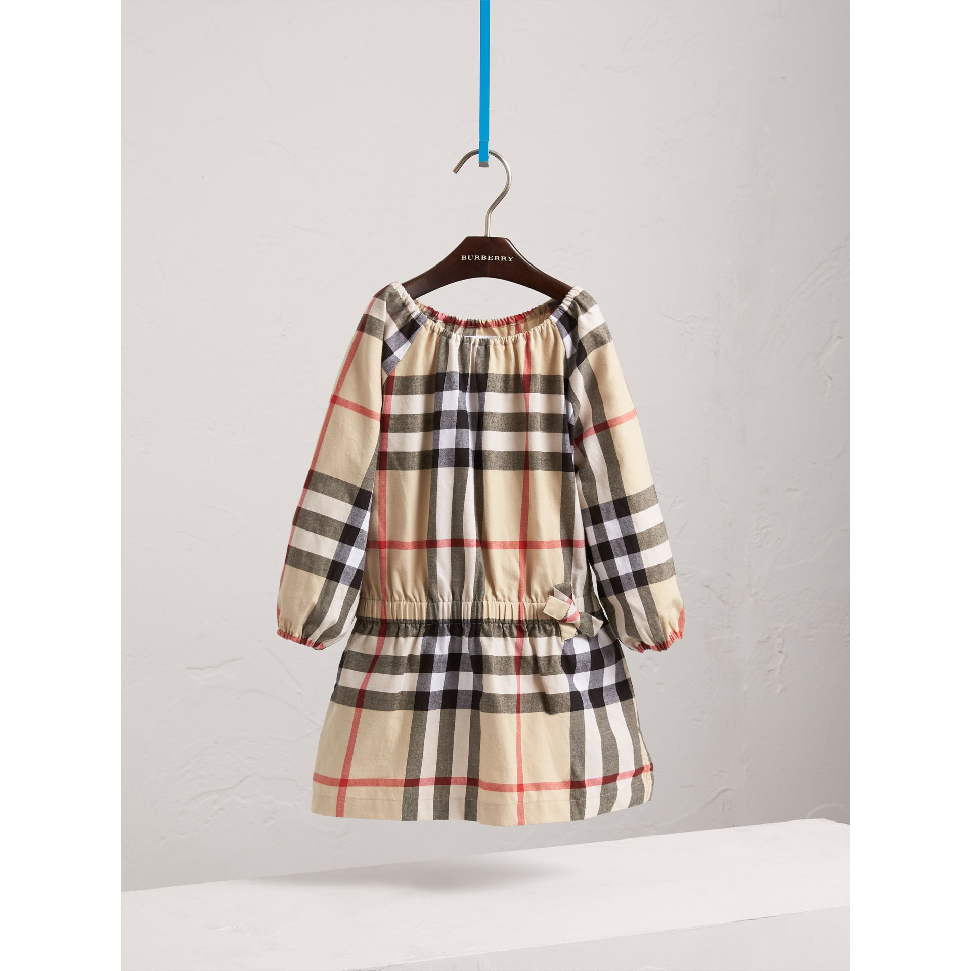 Gathered Check Cotton Flannel Dress in New Classic - Girl | Burberry - gallery image 3