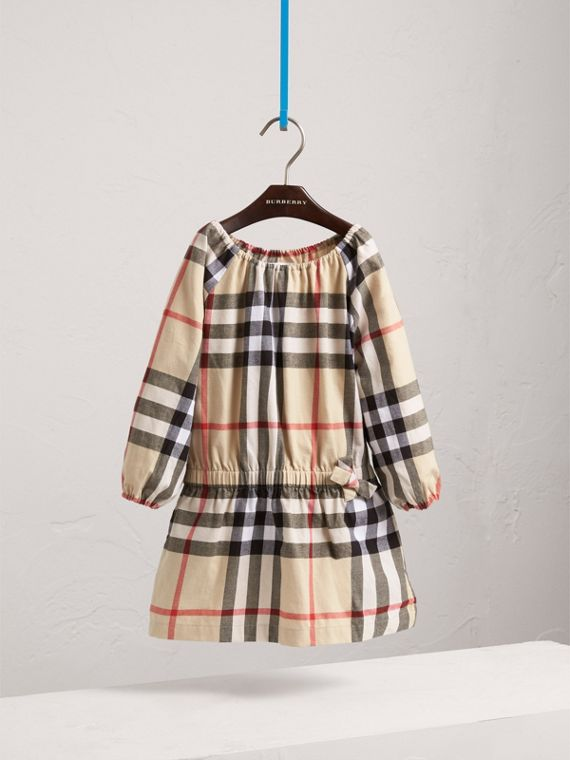 Gathered Check Cotton Flannel Dress in New Classic - Girl | Burberry - cell image 2