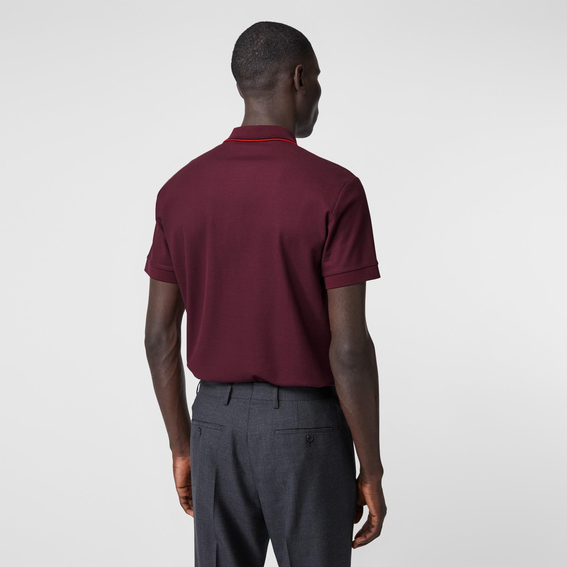Monogram Motif Cotton Piqué Polo Shirt in Burgundy - Men | Burberry United Kingdom - gallery image 2
