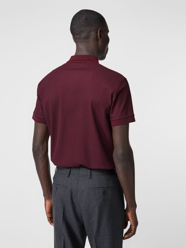 Monogram Motif Cotton Piqué Polo Shirt in Burgundy - Men | Burberry United Kingdom - cell image 2
