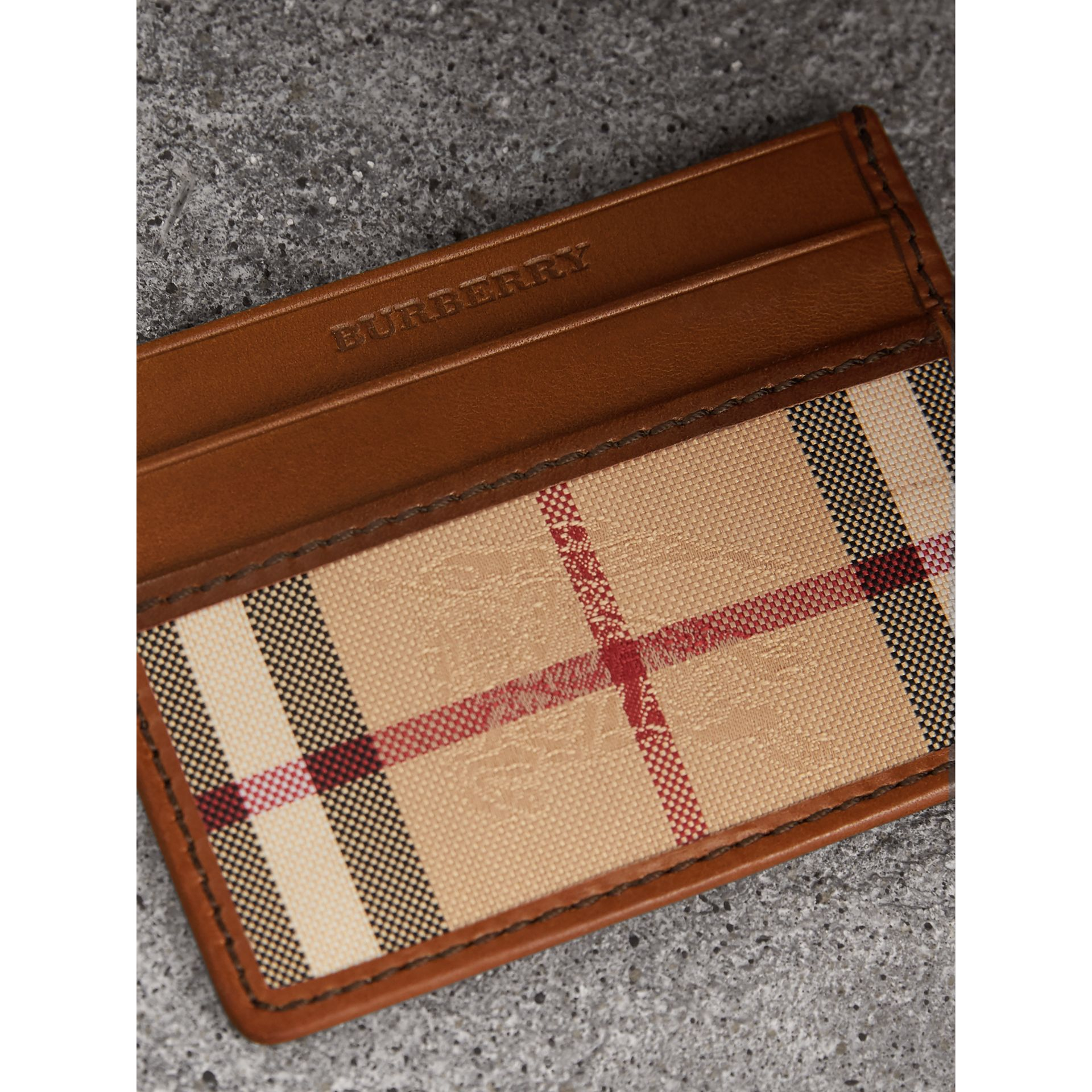 Horseferry Check Card Case in Tan - Men | Burberry - gallery image 2