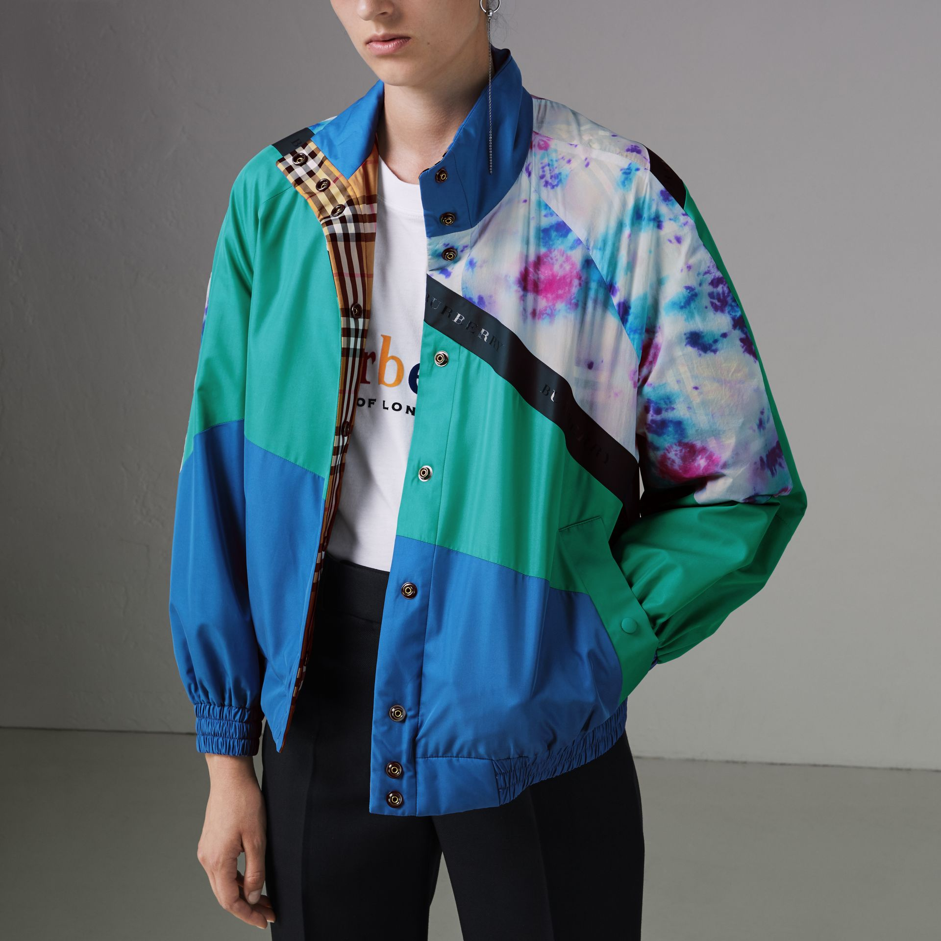 Tie-dye Silk Shell Suit Jacket in Turquoise - Women | Burberry United States - gallery image 4
