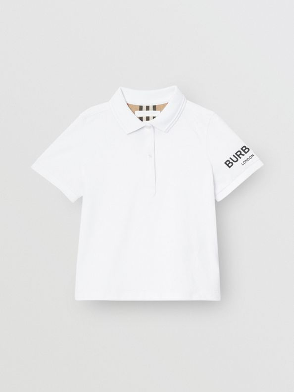 Logo Print Cotton Piqué Polo Shirt in White