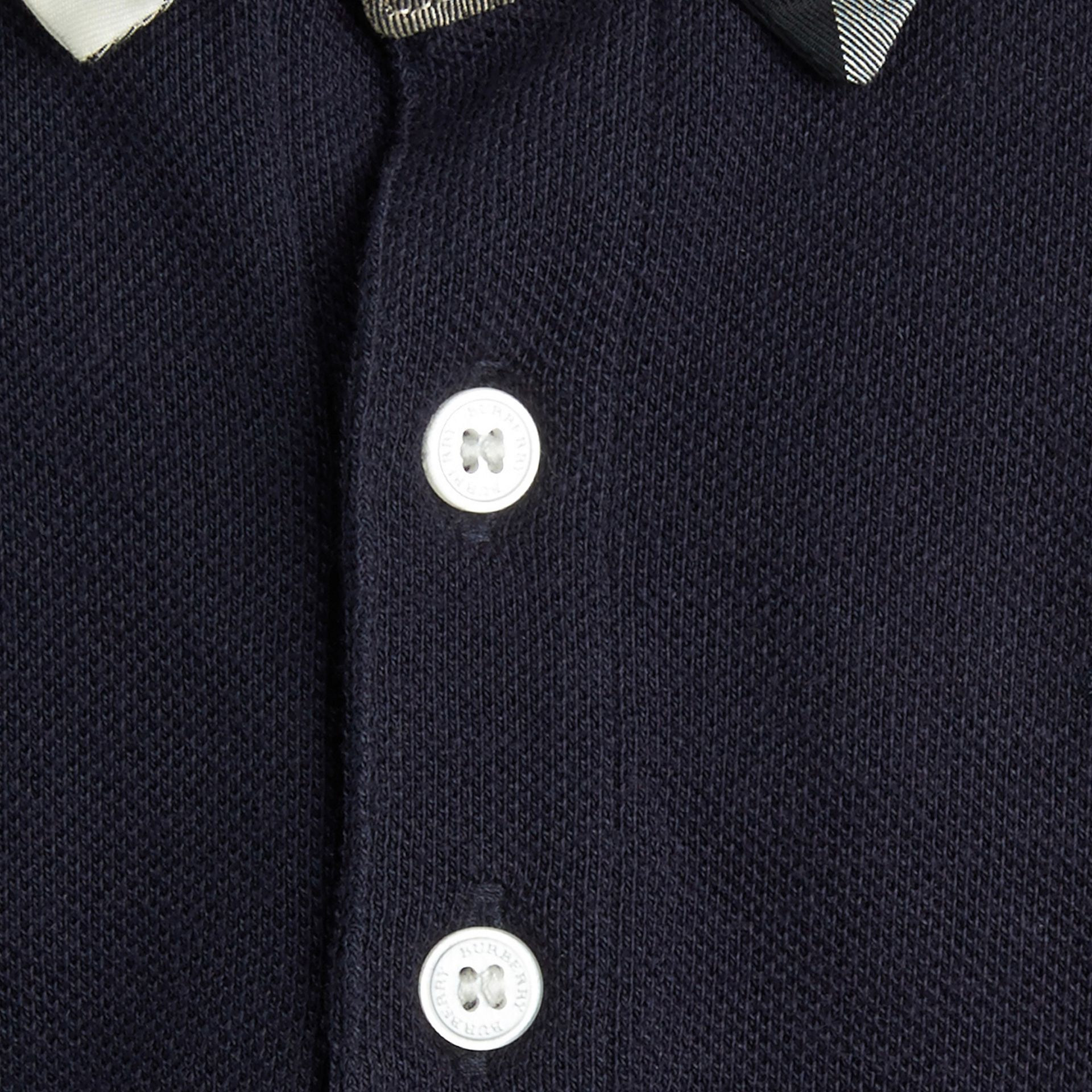 Check Collar Polo Shirt in True Navy | Burberry Australia - gallery image 1