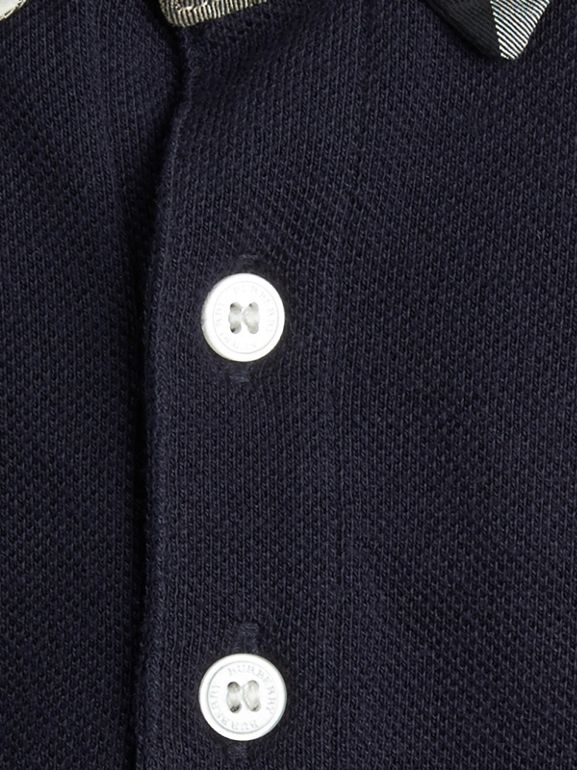 Check Collar Polo Shirt in True Navy | Burberry - cell image 1