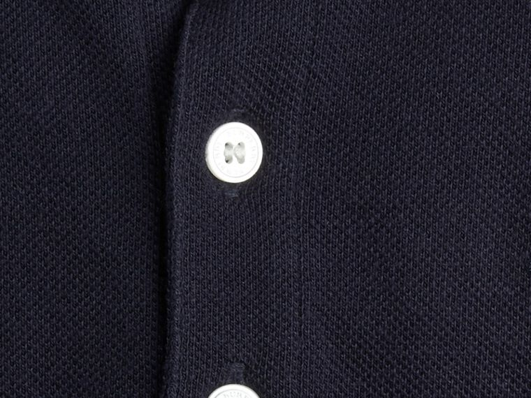 Check Collar Polo Shirt in True Navy - Boy | Burberry - cell image 1