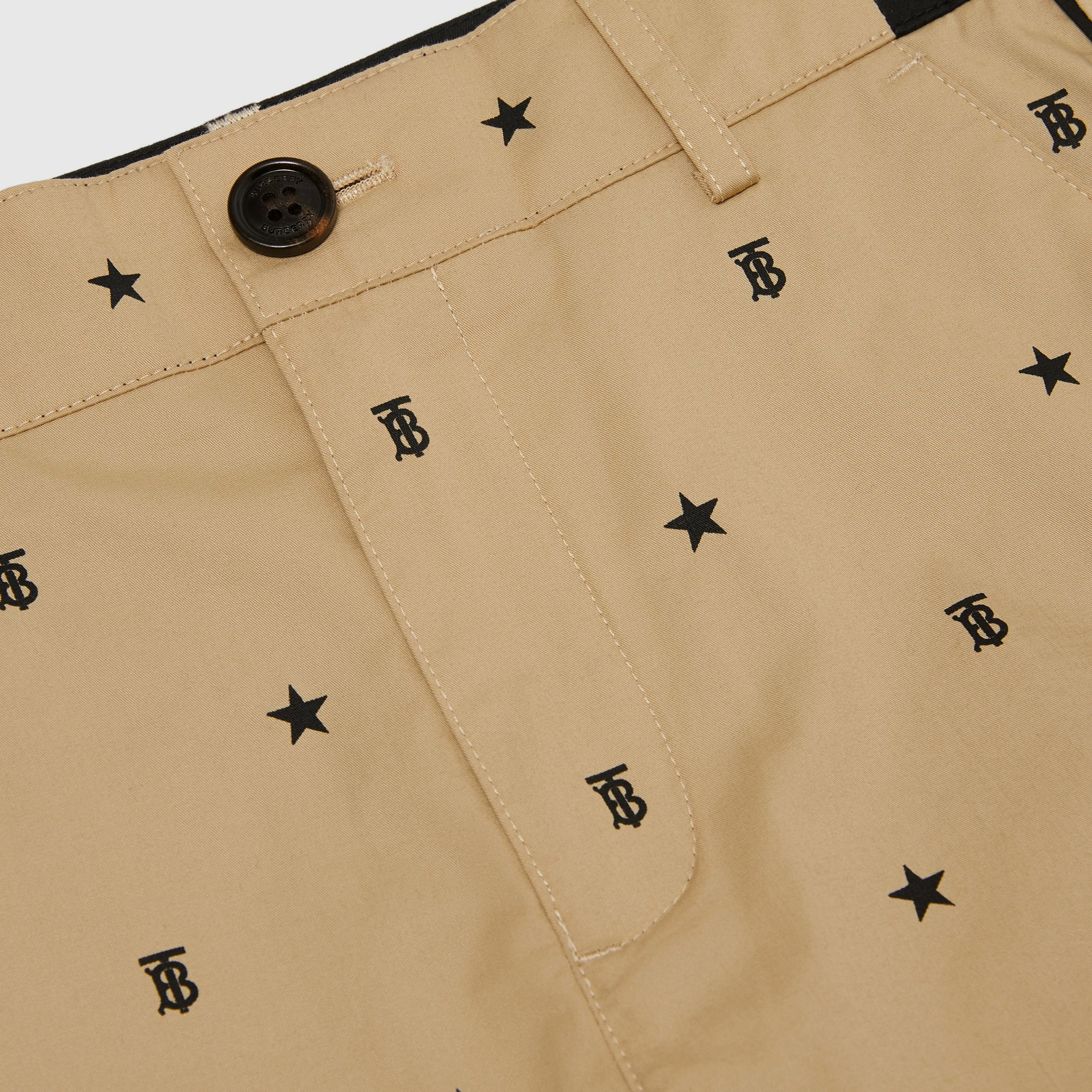 Star and Monogram Motif Tailored Shorts in Sand | Burberry - 2
