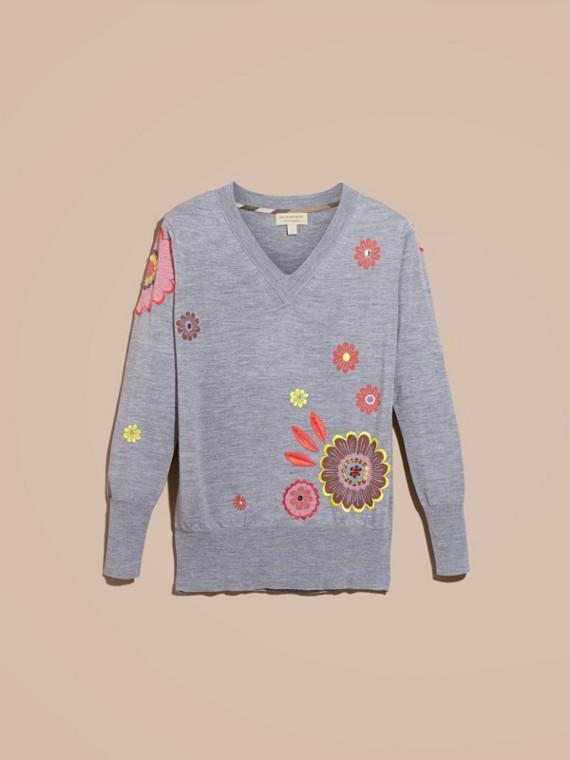 Camaïeu de gris moyens Pull en V en laine mérinos avec imprimé floral - cell image 3
