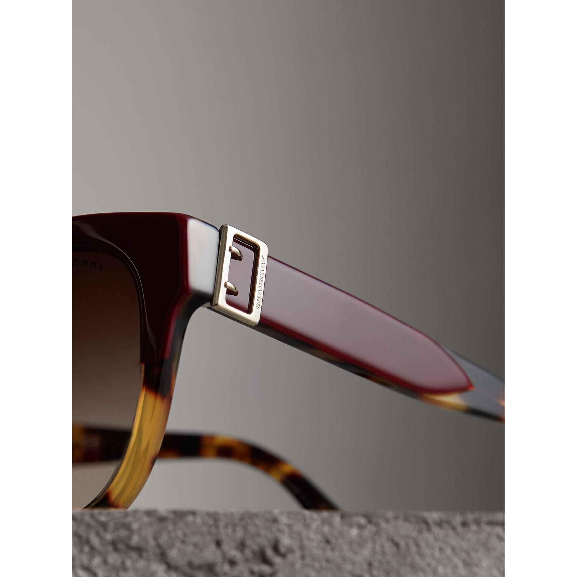 Buckle Detail Square Frame Sunglasses in Burgundy - Women | Burberry Australia - gallery image 2