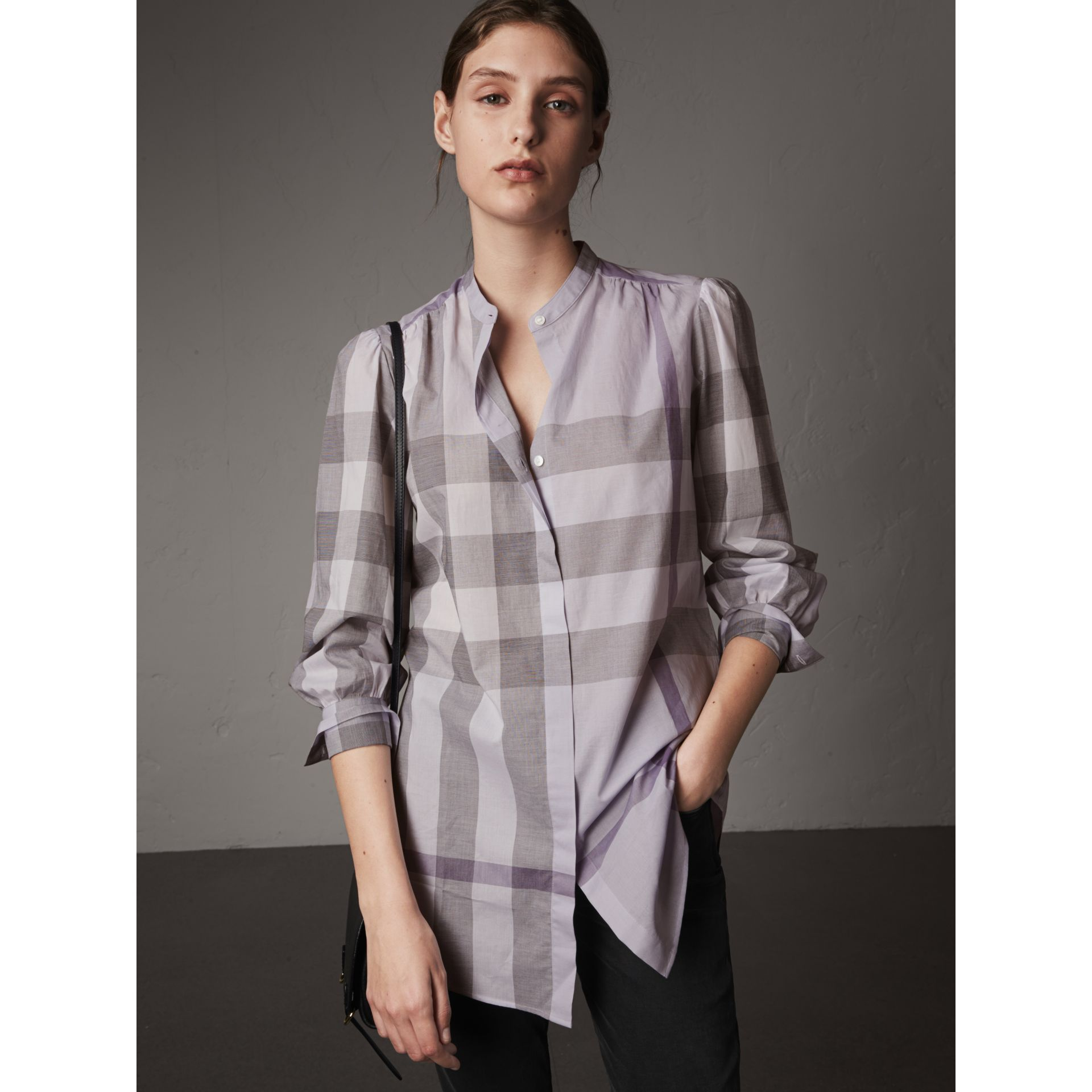 Grandad Collar Check Cotton Tunic Shirt in Pale Wisteria - Women | Burberry - gallery image 1